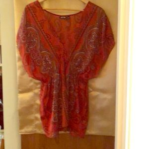 Apt.9 orange/cayenne sheer top